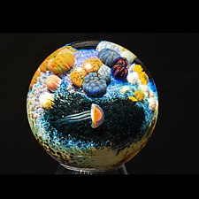 Coral Reef Marble by Aaron Slater (Art Glass Marble)