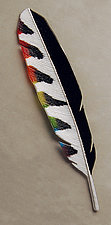 Rainbow Woodpecker Feather by Michael Dupille (Art Glass Wall Sculpture)
