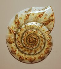Nautilus Amberious by Michael Dupille (Art Glass Wall Sculpture)