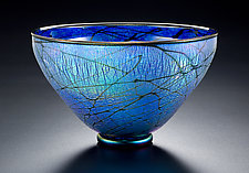 Blue Lustre Bowl by David Lindsay (Art Glass Bowl)