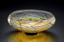 Gold Lustre Low Bowl by David Lindsay (Art Glass Bowl)