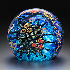Teal Reef Paperweight by David Lindsay (Art Glass Paperweight)