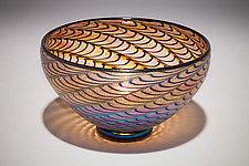 Gold Ruby Lustre Optic Bowl by David Lindsay (Art Glass Bowl)