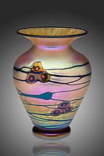 Gold Currents Murrini Vase by David Lindsay (Art Glass Vase)