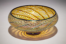 Gold Lustre Optic Low Bowl by David Lindsay (Art Glass Bowl)