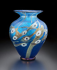 Midnight Blossom Vase by David Lindsay (Art Glass Vase)