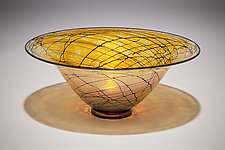 Gold Lustre Open Bowl by David Lindsay (Art Glass Bowl)