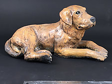 Yellow Lab by Ronnie Gould (Ceramic Sculpture)