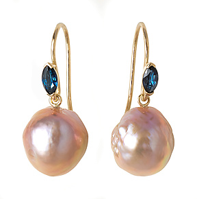 Kasumi Pearls with Sapphire by Kimberlin Brown (Gold, Stone & Pearl Earrings)