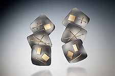 Interwoven Three Squares Earrings by Suzanne Schwartz (Gold & Silver Earrings)
