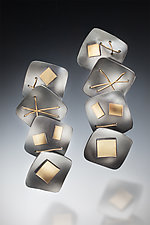 Interwoven Four Square Earrings by Suzanne Schwartz (Gold & Silver Earrings)