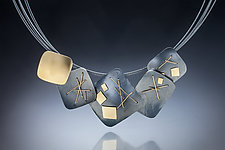 Interwoven Squares Necklace by Suzanne Schwartz (Gold & Silver Necklace)