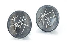Free-Form Circle Drop Earrings by Suzanne Schwartz (Silver Earrings)