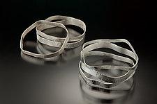 Set of Five Hammered Bangles by Suzanne Schwartz (Silver Bracelets)