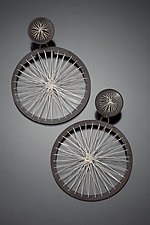 Double Circle Stitched Earrings by Suzanne Schwartz (Silver Earrings)
