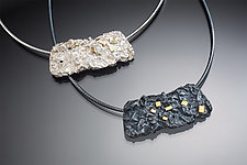 Contour Necklace with Accent Squares by Suzanne Schwartz (Gold & Silver Necklace)