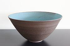 Dark Aqua Large Bowl by Julia Paul (Ceramic Bowl)