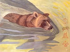 Swimming Bear by Diana Arcadipone (Watercolor Painting)