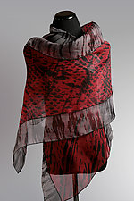Red Evening Silk Organza Wrap by Suzanne Bates  (Silk Scarf)