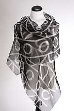 Geometric Wrap in Black and White by Suzanne Bates  (Silk Scarf)