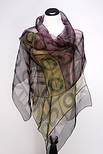 Geometric Wrap in Plum by Suzanne Bates  (Silk Scarf)