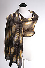 Pleated Silk Wrap in Graphic Brown by Suzanne Bates  (Silk Wrap)