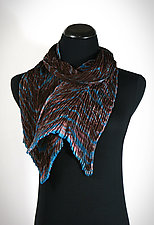 Marbled Brown Pleated Silk Scarf by Suzanne Bates  (Silk Scarf)
