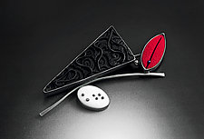 Red Bud Brooch by Grace Stokes (Polymer Clay & Silver Brooch)