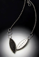 Black and White Shield Pendant by Grace Stokes (Polymer Clay & Silver Necklace)