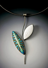 Blue Tiger Leaf Pendant by Grace Stokes (Polymer Clay & Silver Necklace)