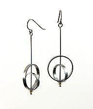 Orbit Earrings with Gold Bead by Grace Stokes (Gold & Silver Earrings)
