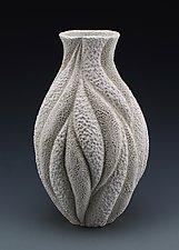 Marissa Coastal Texture Wave Vase by Judi Tavill (Ceramic Vase)