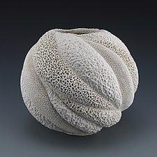 Carina Coastal Collage Round Vessel by Judi Tavill (Ceramic Vessel)