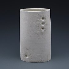 Orly Ovaled Minimal Texture Vase with Gold by Judi Tavill (Ceramic Vases)
