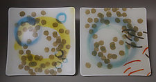 Circles and Dots Luncheon Plates by Martha Pfanschmidt (Art Glass Platters)
