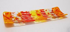 Stripes and Leaves Tray by Martha Pfanschmidt (Art Glass Tray)