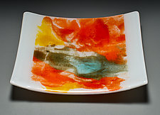 Abstract Plate in Red by Martha Pfanschmidt (Art Glass Plate)