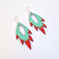 Petal Flame Earrings in Aqua & Flame by Jenny Windler (Enameled Earrings)