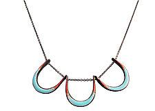 Horseshoe Necklace in Aqua & Flame by Jenny Windler (Enameled Necklace)