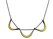 Boomerang Necklace in Chartreuse by Jenny Windler (Enameled Necklace)