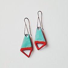 Big Kite Cutout Earrings in Aqua & Flame by Jenny Windler (Enameled Earrings)