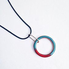 Little Looper Necklace by Jenny Windler (Silver, Copper & Enamel Necklace)
