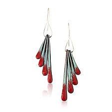 Fringe Wing Earrings by Jenny Windler (Copper and Enamel Earrings)