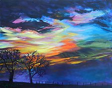 Prairie Fireworks 1 by Bonnie Lambert (Oil Painting)