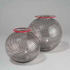 Black Orbs by David J. Benyosef (Art Glass Vessel)