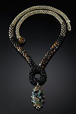Black Ring Neckpiece by Sher Berman (Beaded Necklace)