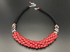 Red Crochet Necklace by Sher Berman (Beaded Necklace)