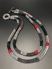 Gray and Black Bead Crochet Necklace by Sher Berman (Beaded Necklace)