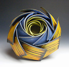 Triple Spiral Ikebana by Thomas Harris (Ceramic Sculpture)