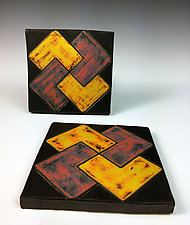 Patterned Tile by Thomas Harris (Ceramic Wall Sculpture)